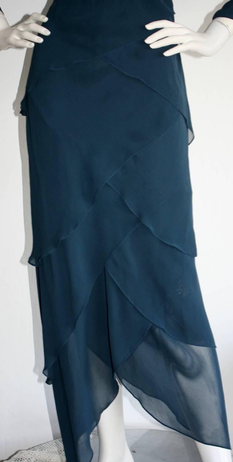Vintage Alberta Ferretti Navy Blue Silk Tiered Column Gown 3