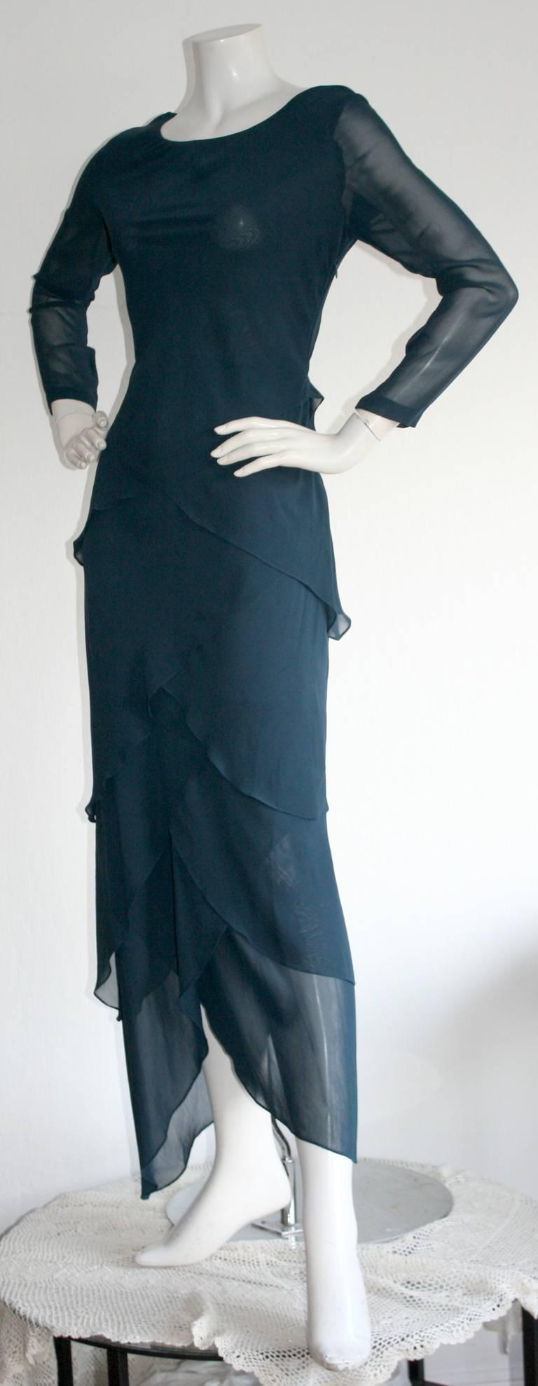 Vintage Alberta Ferretti Navy Blue Silk Tiered Column Gown 4