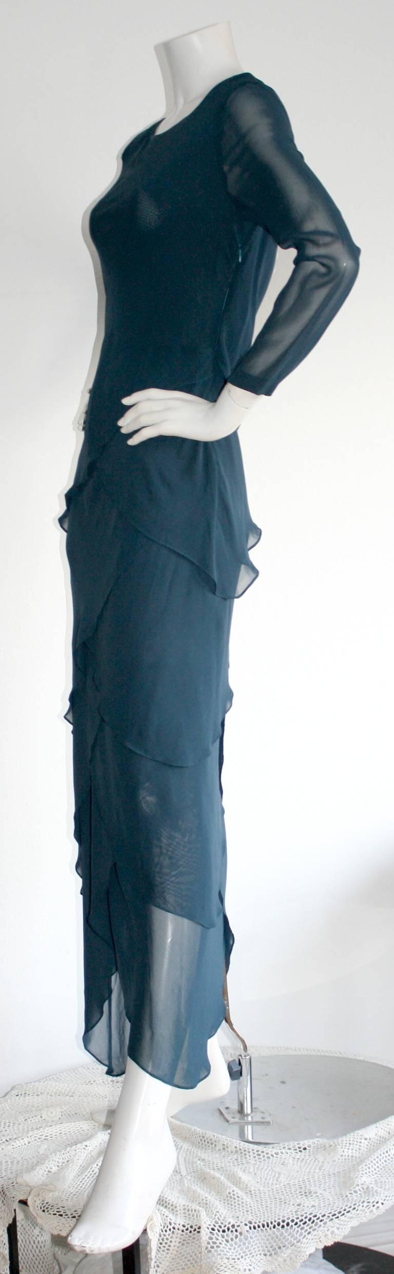 Vintage Alberta Ferretti Navy Blue Silk Tiered Column Gown 6