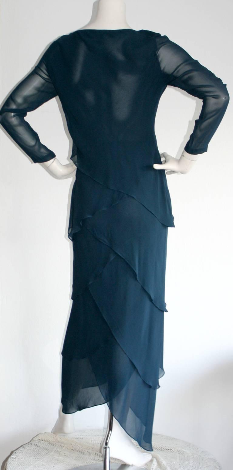 Vintage Alberta Ferretti Navy Blue Silk Tiered Column Gown 5