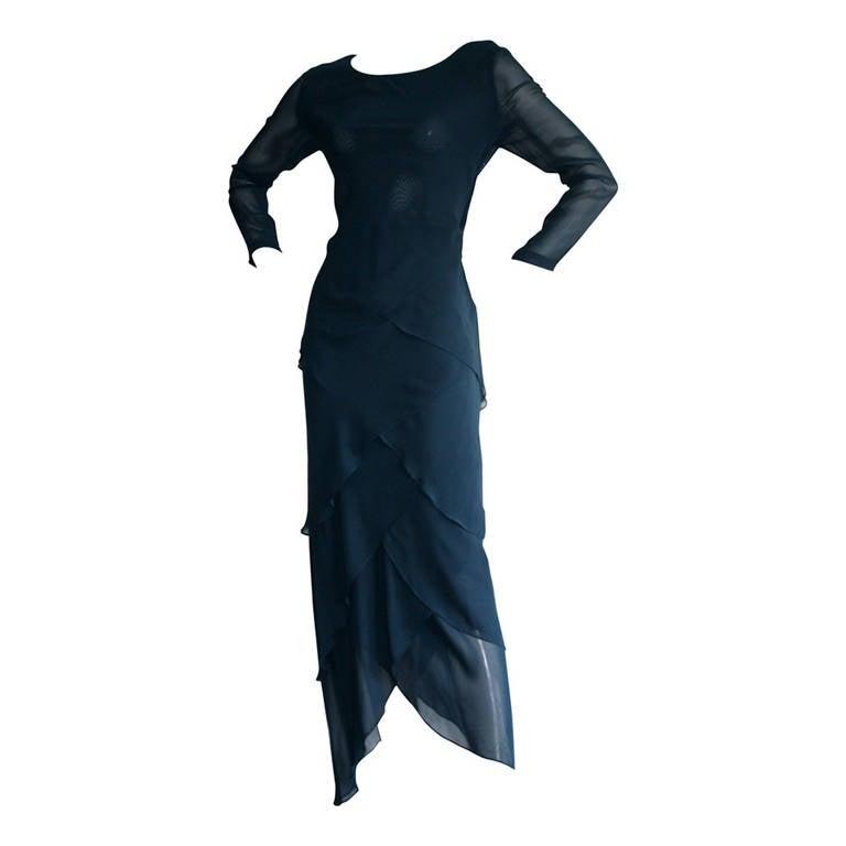 Vintage Alberta Ferretti Navy Blue Silk Tiered Column Gown 1