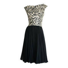 Beautiful 1950s Pat Sandler Highlights Zebra Sequin Beaded Chiffon Dress
