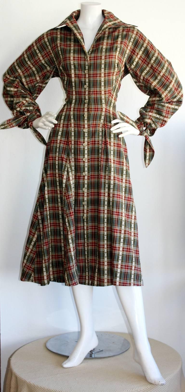 Vintage Byron Lars Tartan Plaid Tie Bow Shirt Dress 2