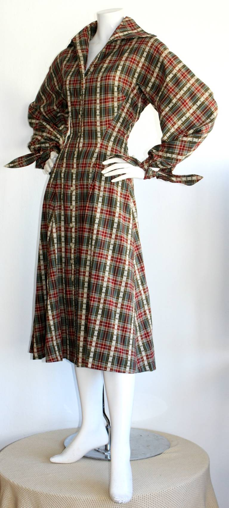 Black Vintage Byron Lars Tartan Plaid Tie Bow Shirt Dress For Sale