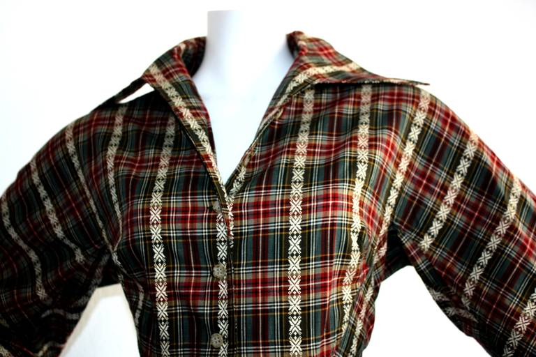 Vintage Byron Lars Tartan Plaid Tie Bow Shirt Dress In Excellent Condition For Sale In San Francisco, CA