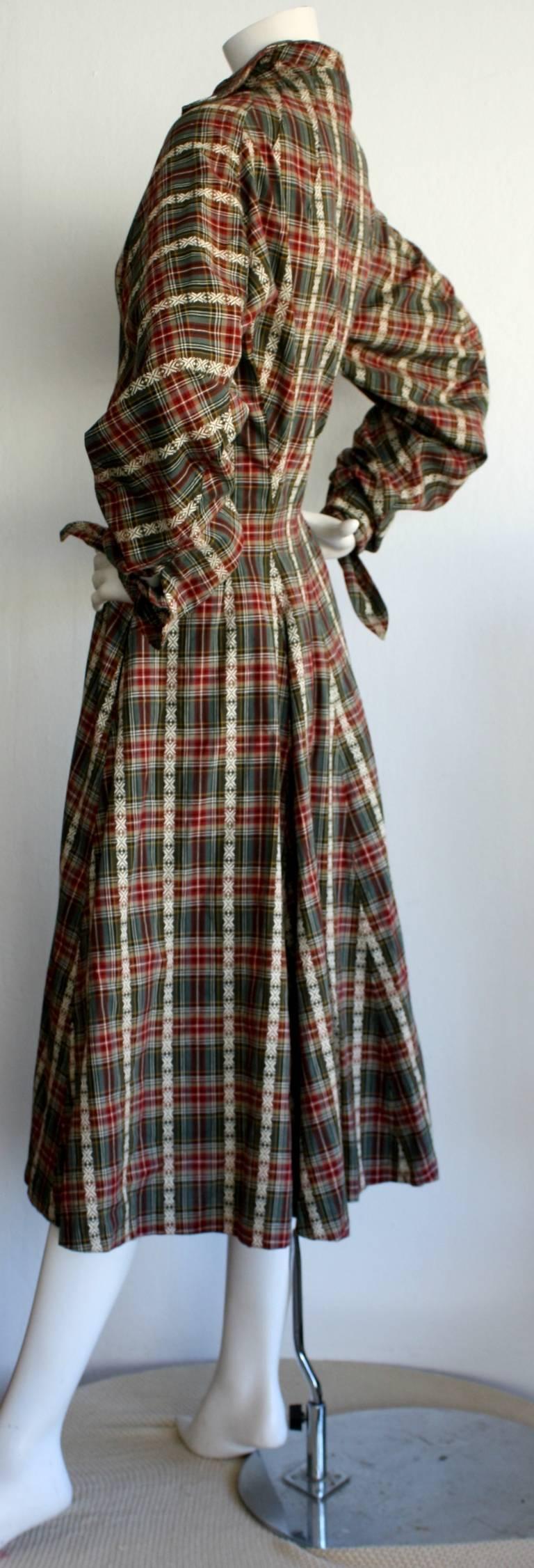 Women's Vintage Byron Lars Tartan Plaid Tie Bow Shirt Dress For Sale