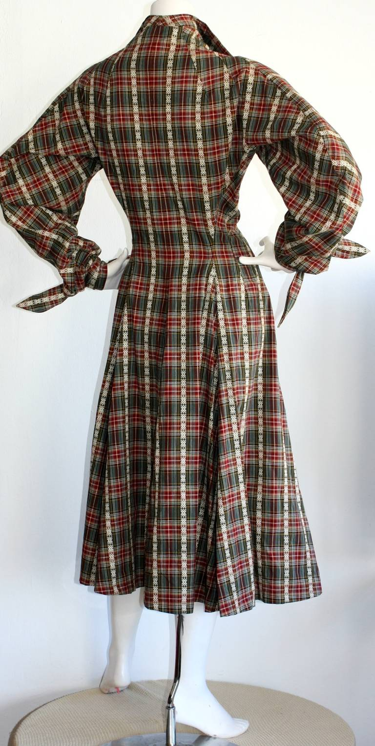 Vintage Byron Lars Tartan Plaid Tie Bow Shirt Dress 6