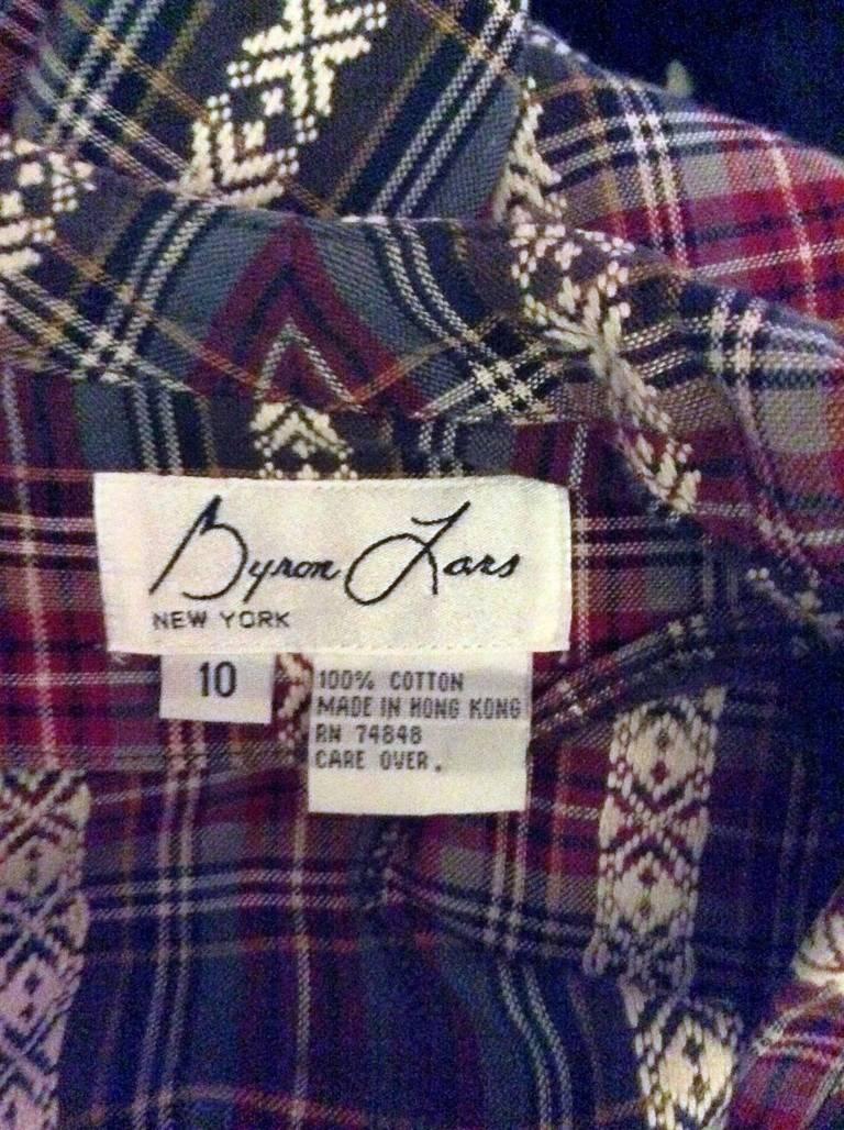 Vintage Byron Lars Tartan Plaid Tie Bow Shirt Dress For Sale 2