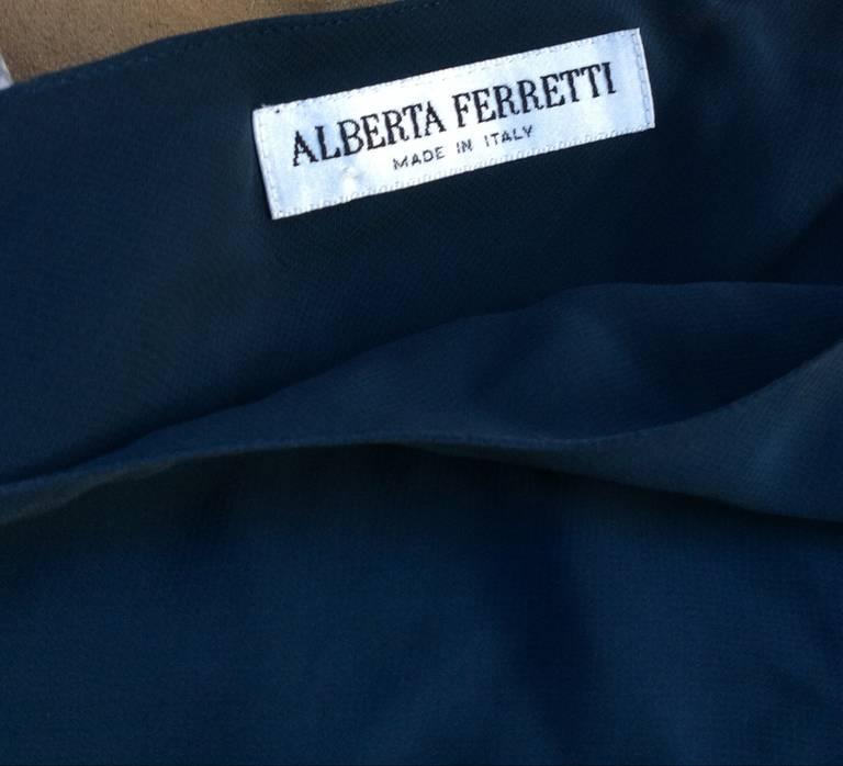 Vintage Alberta Ferretti Navy Blue Silk Tiered Column Gown 7