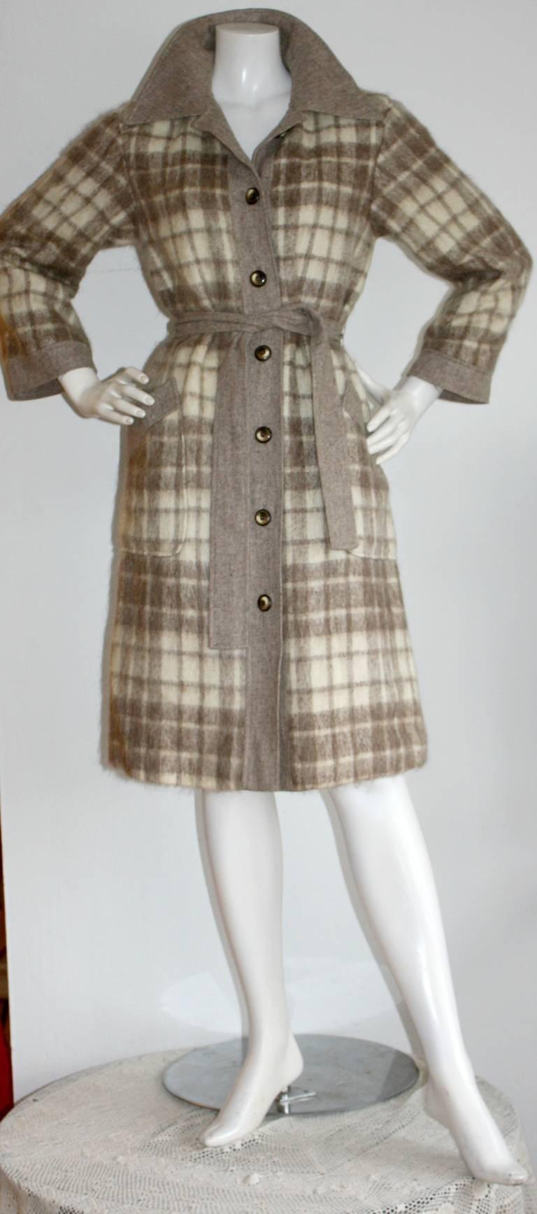 Vintage Pierre Cardin Heathered Camel Tartan Plaid Belted Wool Coat 2