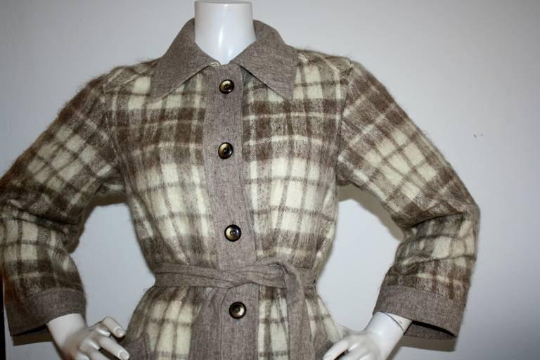 Vintage Pierre Cardin Heathered Camel Tartan Plaid Belted Wool Coat 3