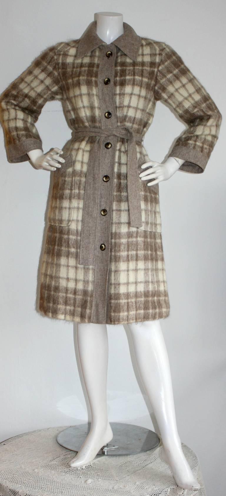 Vintage Pierre Cardin Heathered Camel Tartan Plaid Belted Wool Coat 4