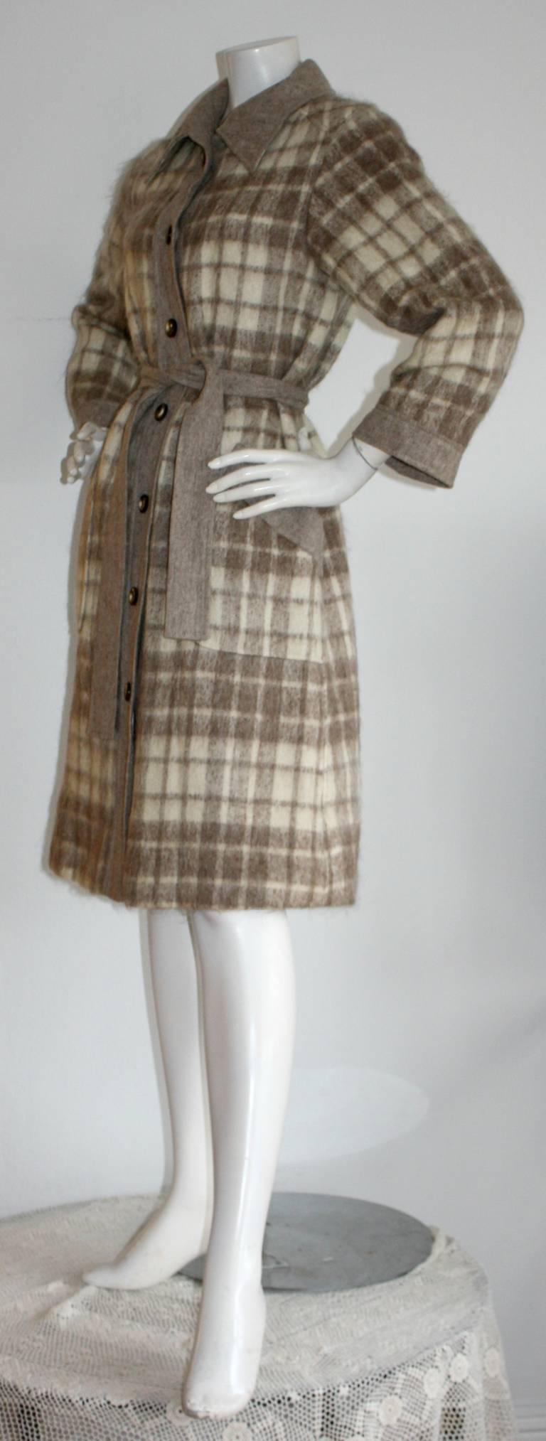 Vintage Pierre Cardin Heathered Camel Tartan Plaid Belted Wool Coat 6
