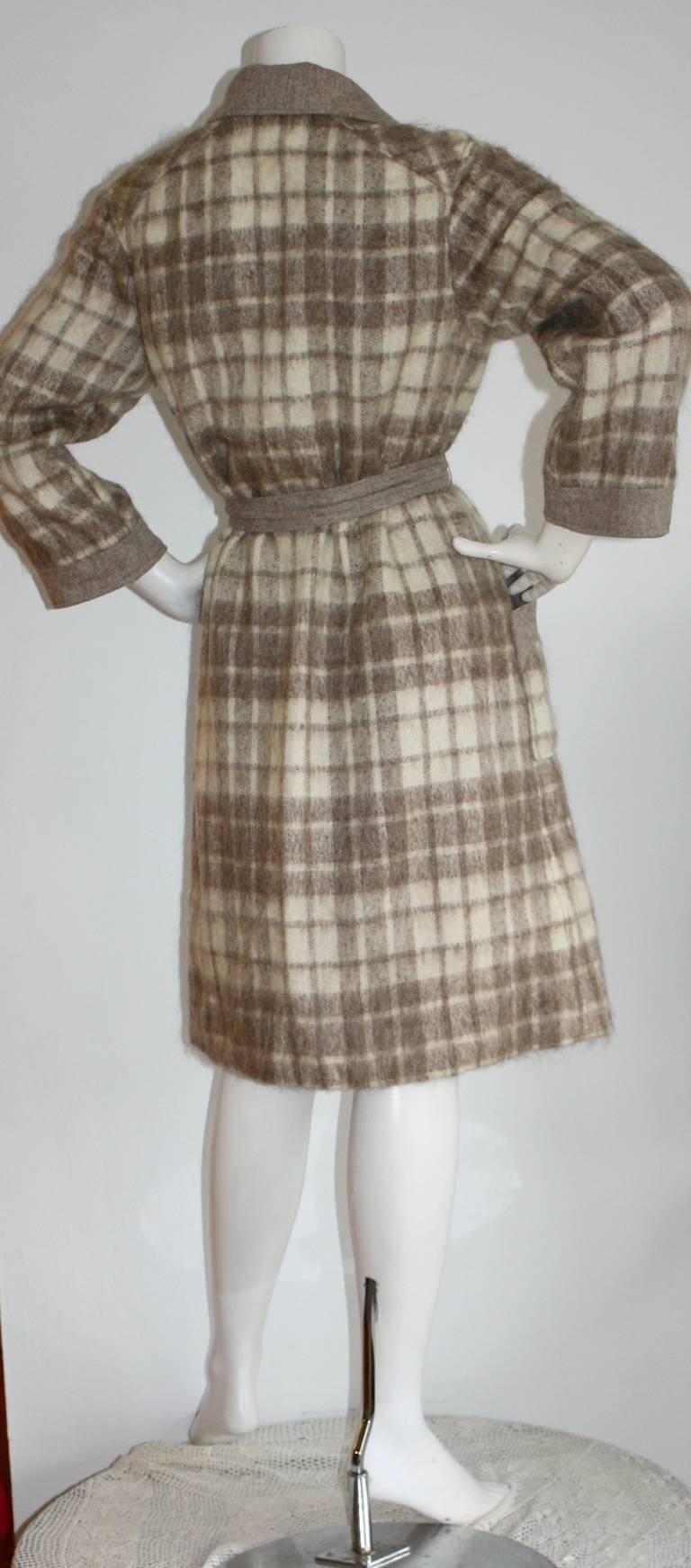 Vintage Pierre Cardin Heathered Camel Tartan Plaid Belted Wool Coat 7