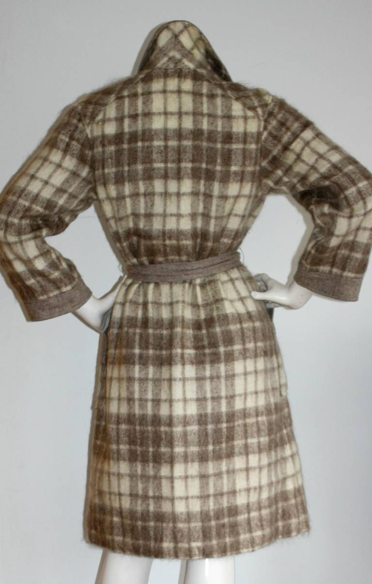 Vintage Pierre Cardin Heathered Camel Tartan Plaid Belted Wool Coat 5