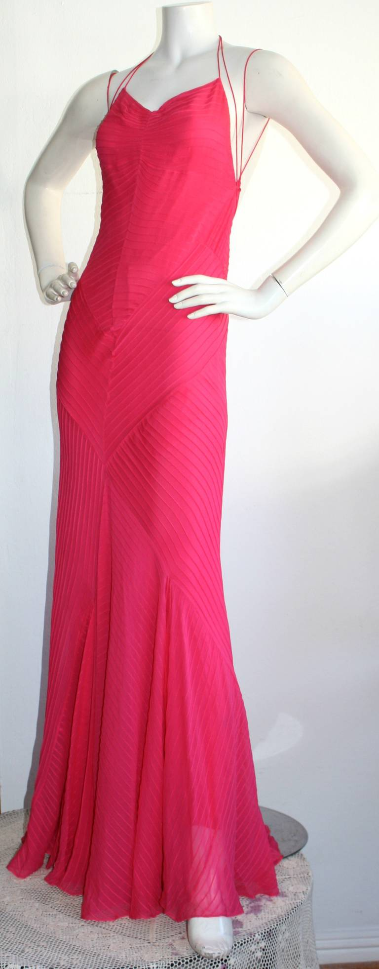 Stunning Vintage Ralph Lauren Purple Label Hot Pink Mermaid Gown ...