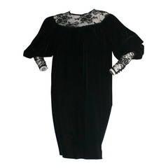 Amazing Vintage Yves Saint Laurent Black Velvet Lace Trapeze Dress From 1982