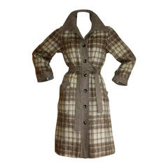 Vintage Pierre Cardin Heathered Camel Tartan Plaid Belted Wool Coat