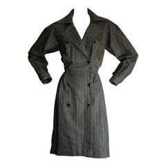 Chic Vintage Yves Saint Laurent Rive Gauche Grey Pinstripe Wool Shirt Dress