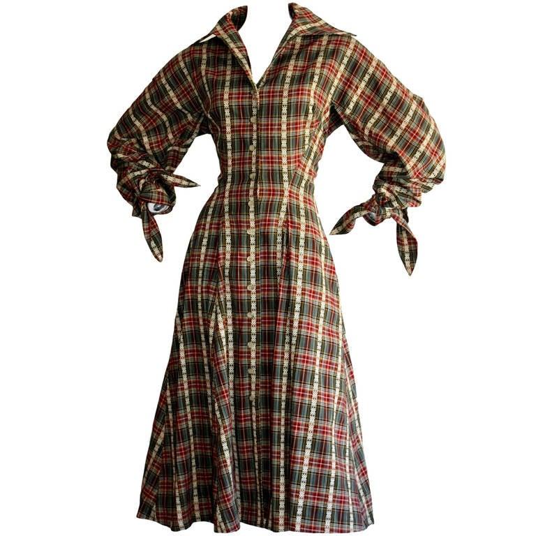 Vintage Byron Lars Tartan Plaid Tie Bow Shirt Dress For Sale