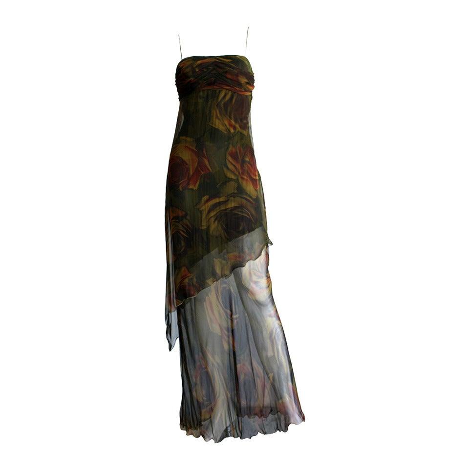 Luca Luca $2k Beautiful Rose Print Silk Chiffon Asymmetrical Gown For Sale