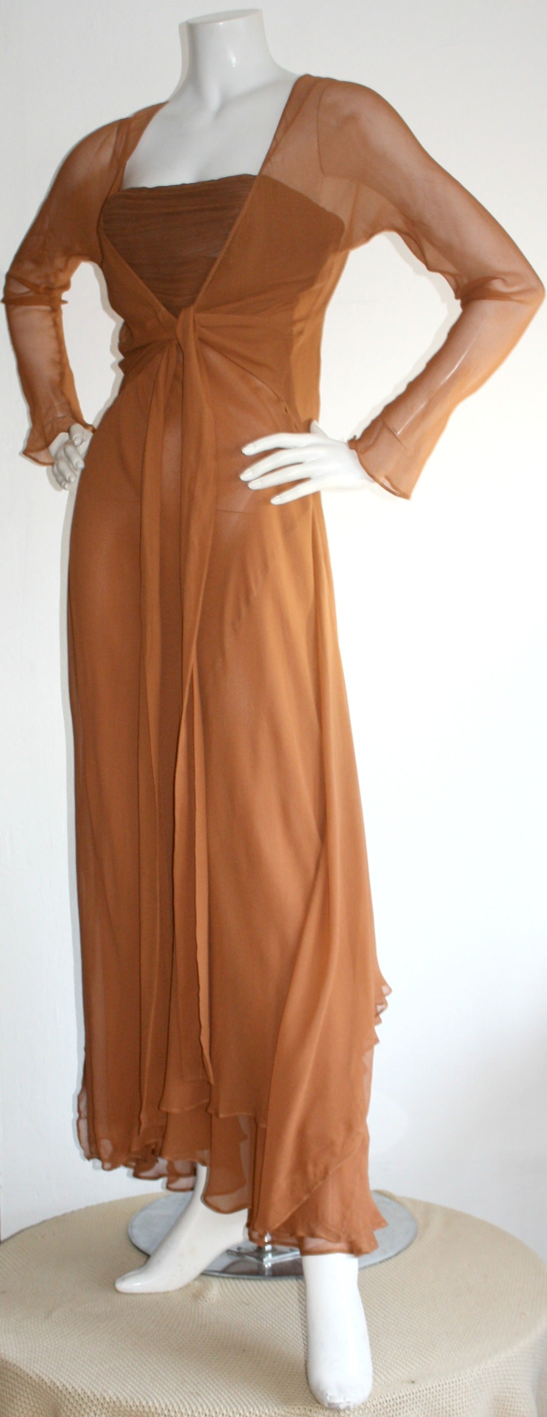Exquisite Vintage Alberta Ferretti Grecian Goddess Chiffon Gown And Jacket In Excellent Condition For Sale In Chicago, IL