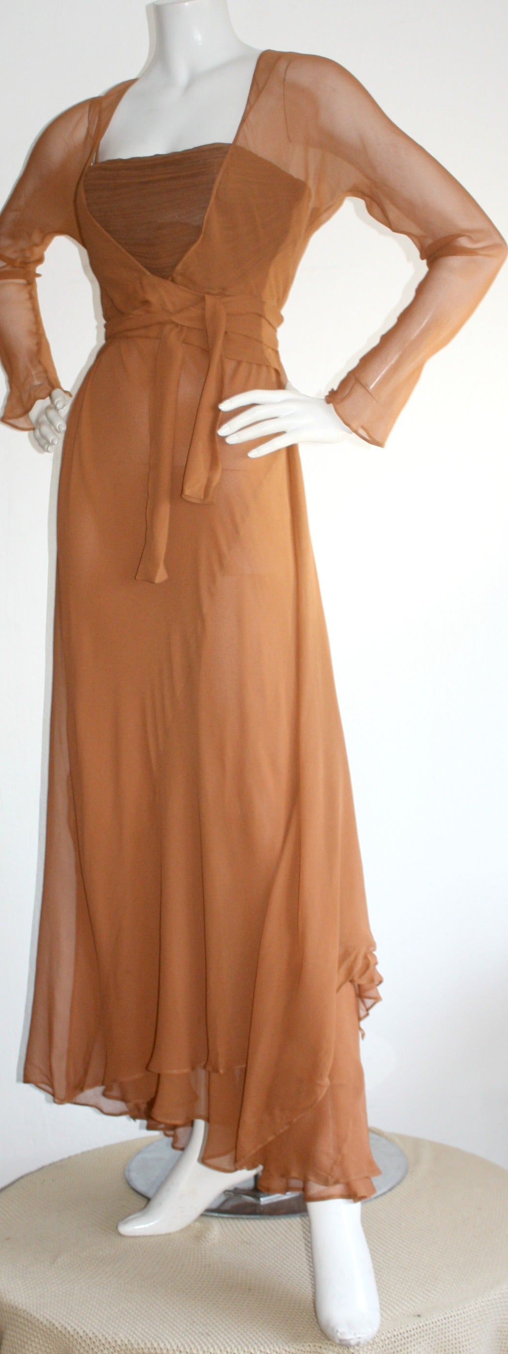 Exquisite Vintage Alberta Ferretti Grecian Goddess Chiffon Gown And Jacket For Sale 1