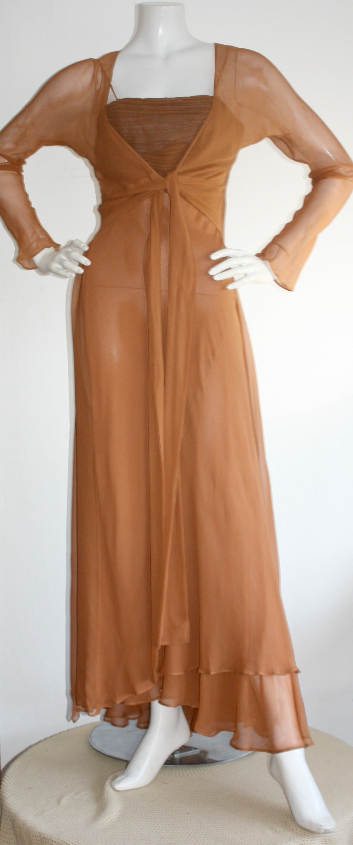 Exquisite Vintage Alberta Ferretti Grecian Goddess Chiffon Gown And Jacket For Sale 4