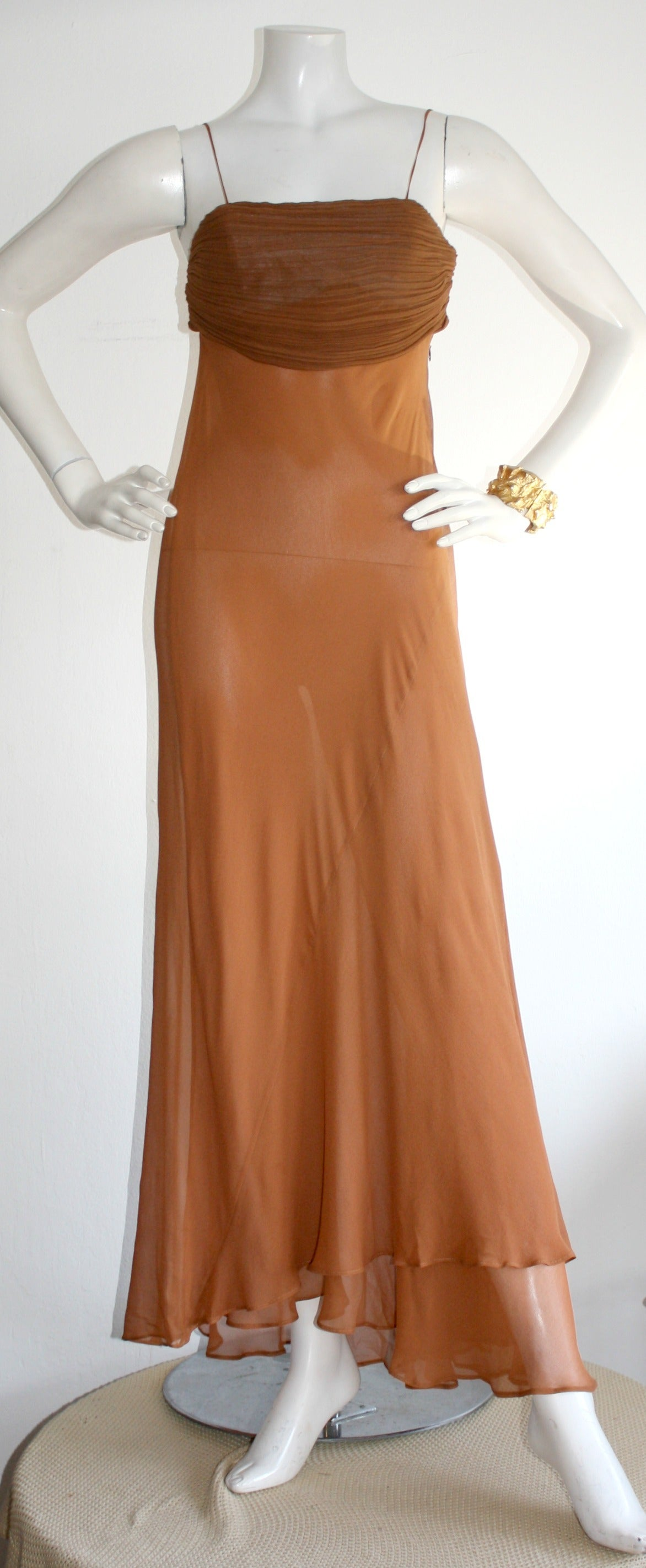 Brown Exquisite Vintage Alberta Ferretti Grecian Goddess Chiffon Gown And Jacket For Sale