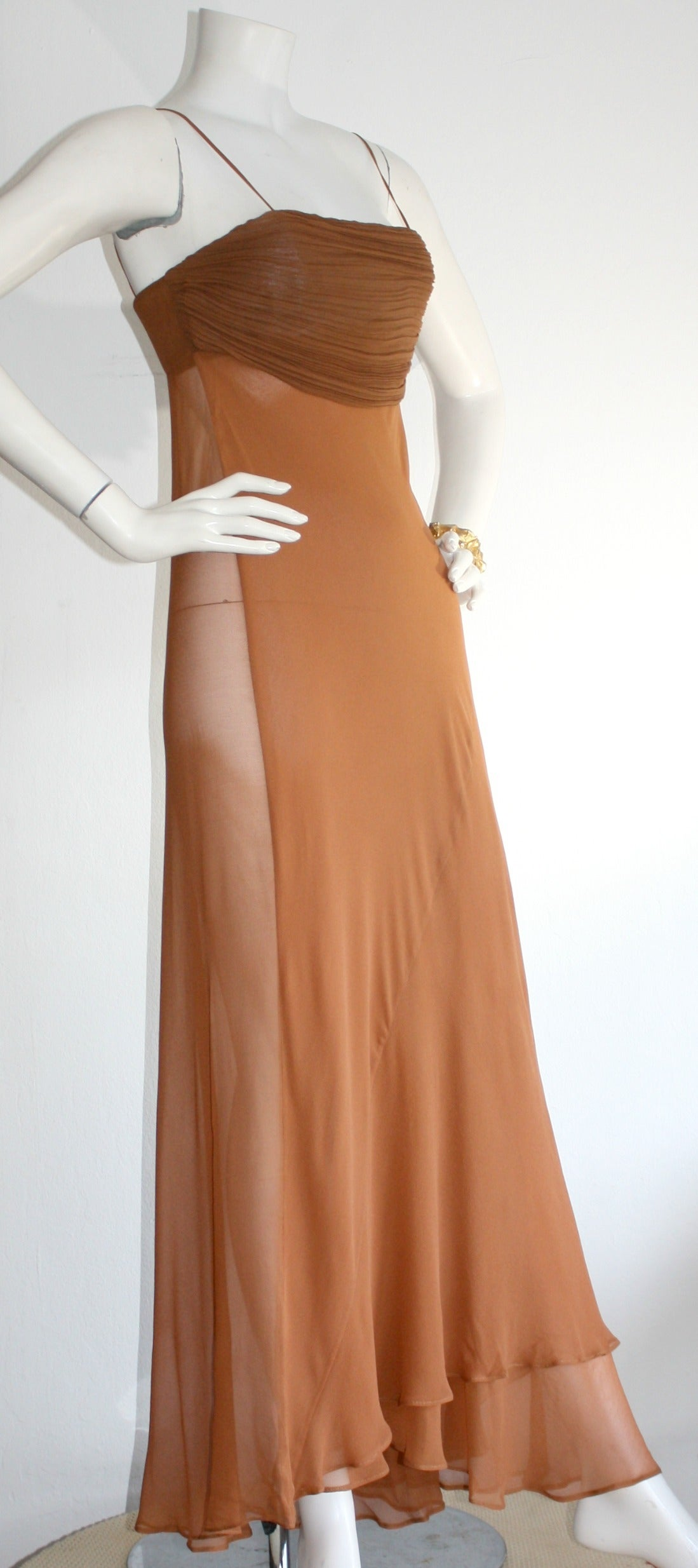 Women's Exquisite Vintage Alberta Ferretti Grecian Goddess Chiffon Gown And Jacket For Sale