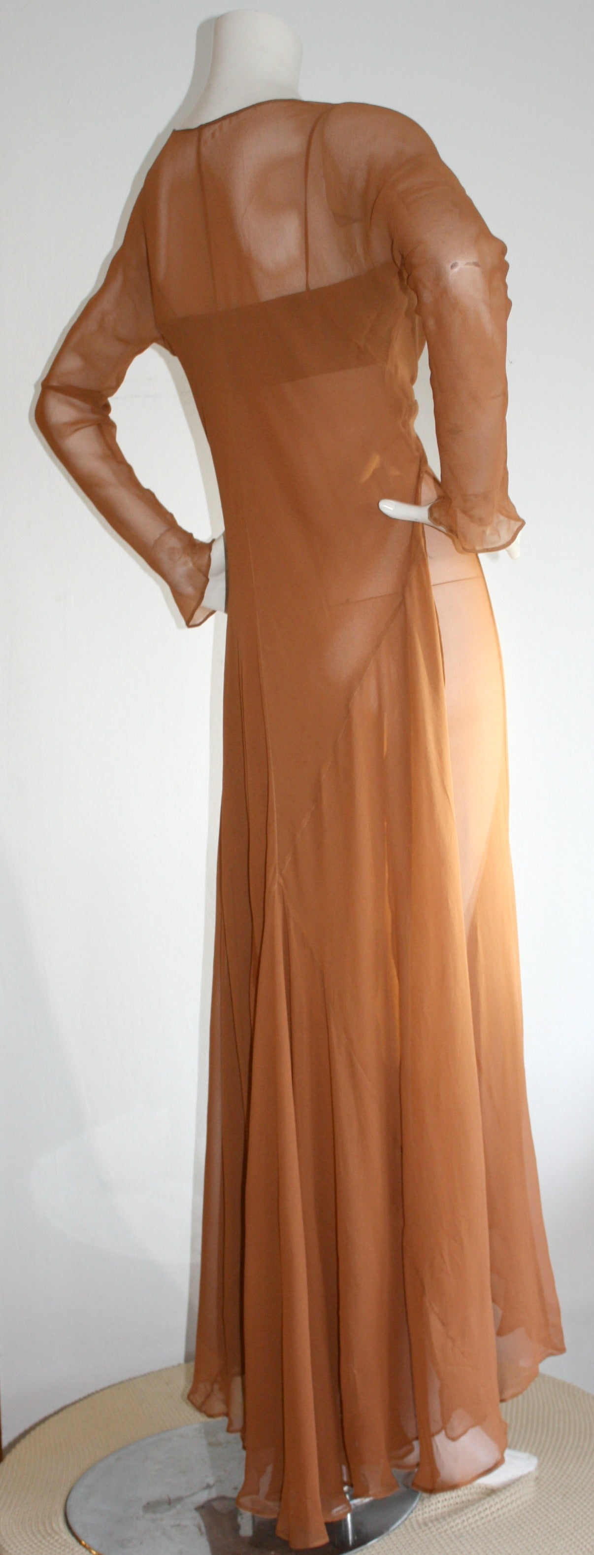 Exquisite Vintage Alberta Ferretti Grecian Goddess Chiffon Gown And Jacket For Sale 3