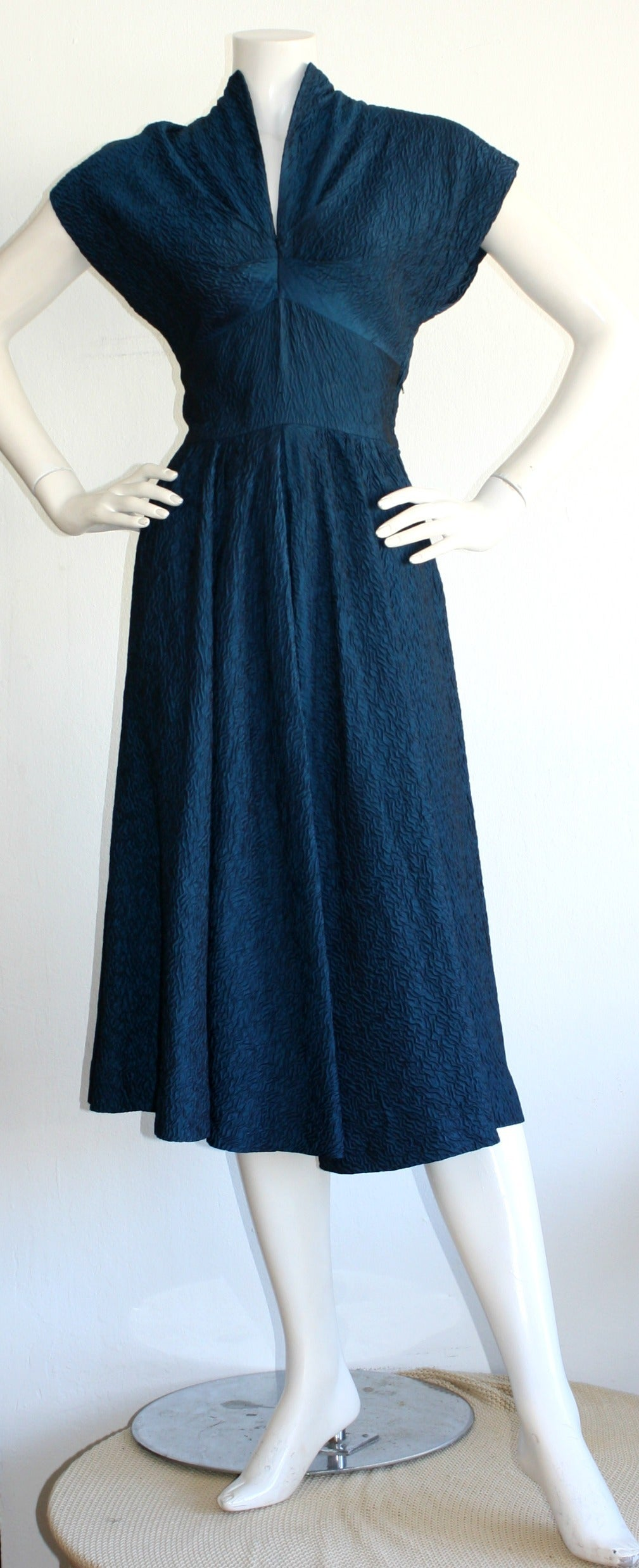 Ultimate Vintage 1940s Dress Blue Textured Silk W/ Dramatic Neck 2