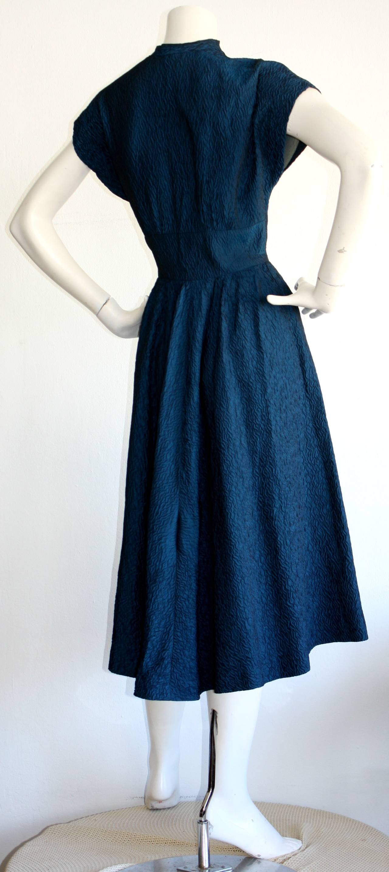 Ultimate Vintage 1940s Dress Blue Textured Silk W/ Dramatic Neck 3