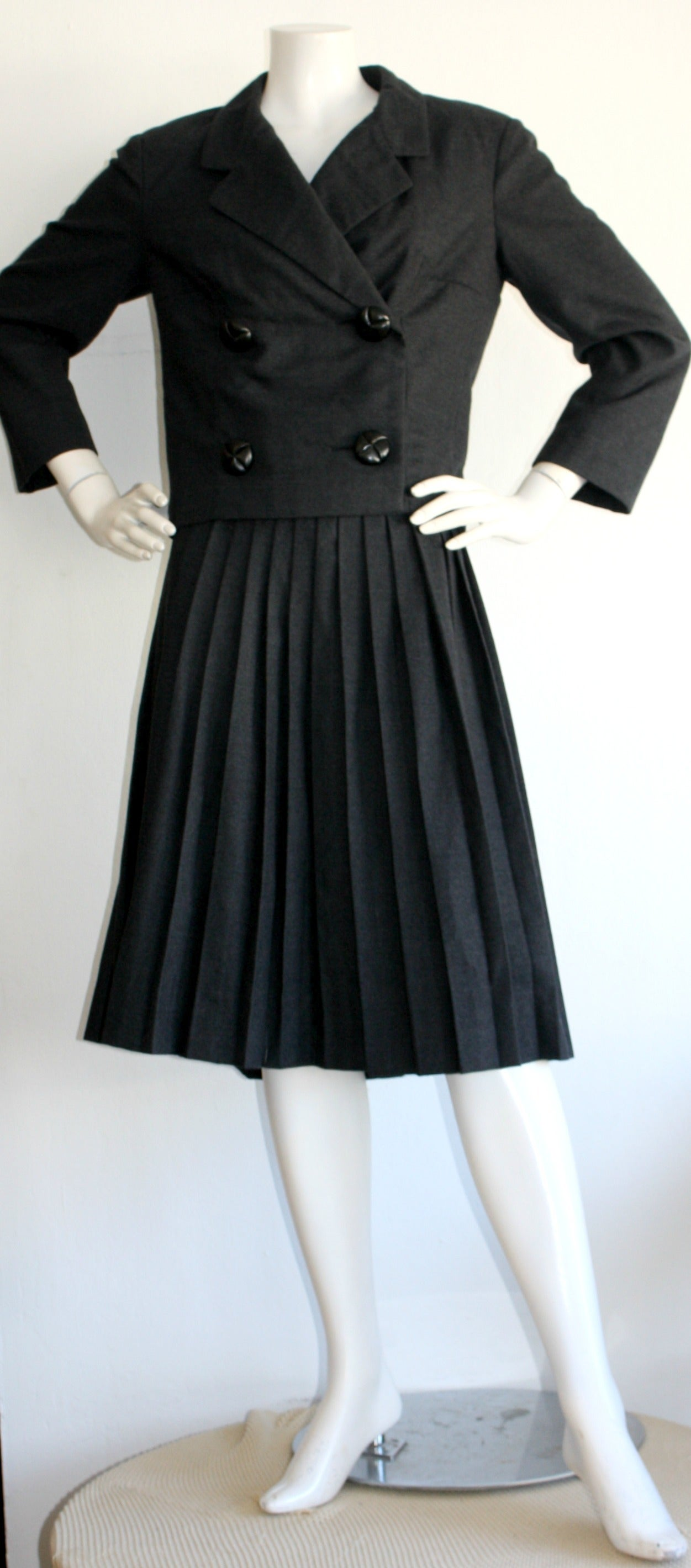 Iconic 1960s Vintage Christian Dior Skirt Suit Pill Box