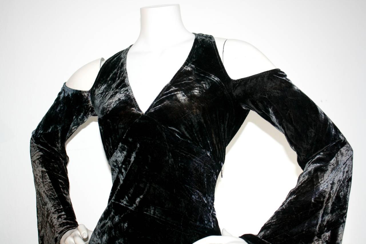 Vintage Donna Karan Ombré Crushed Velvet Blue & Green Open Back Runway Gown 4