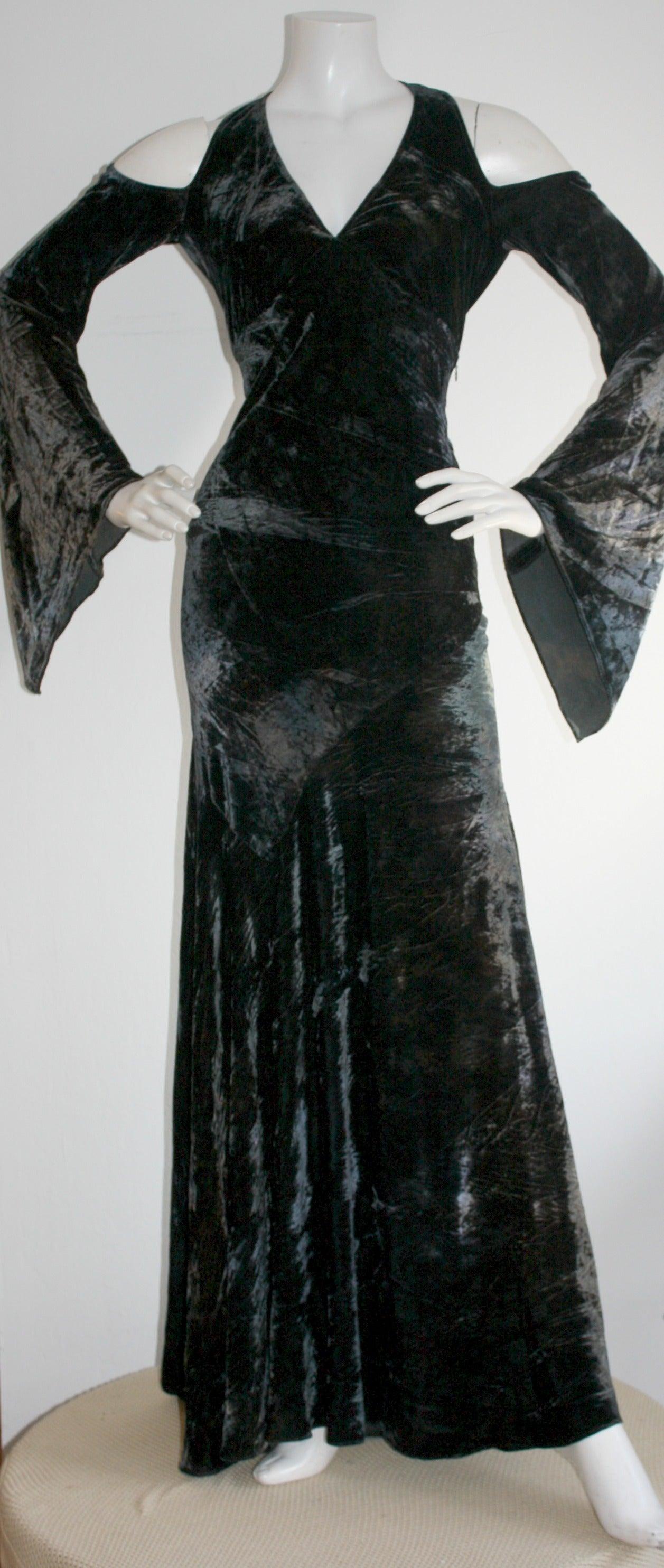 Vintage Donna Karan Ombré Crushed Velvet Blue & Green Open Back Runway Gown 2