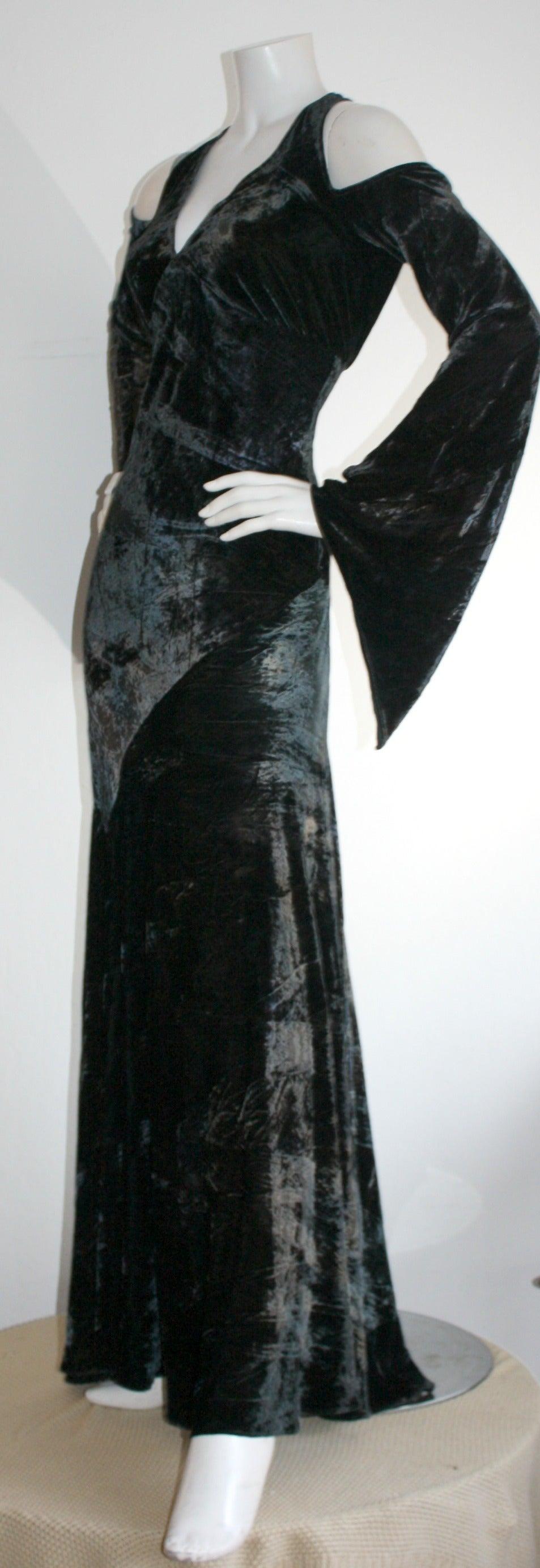 Vintage Donna Karan Ombré Crushed Velvet Blue & Green Open Back Runway Gown 6