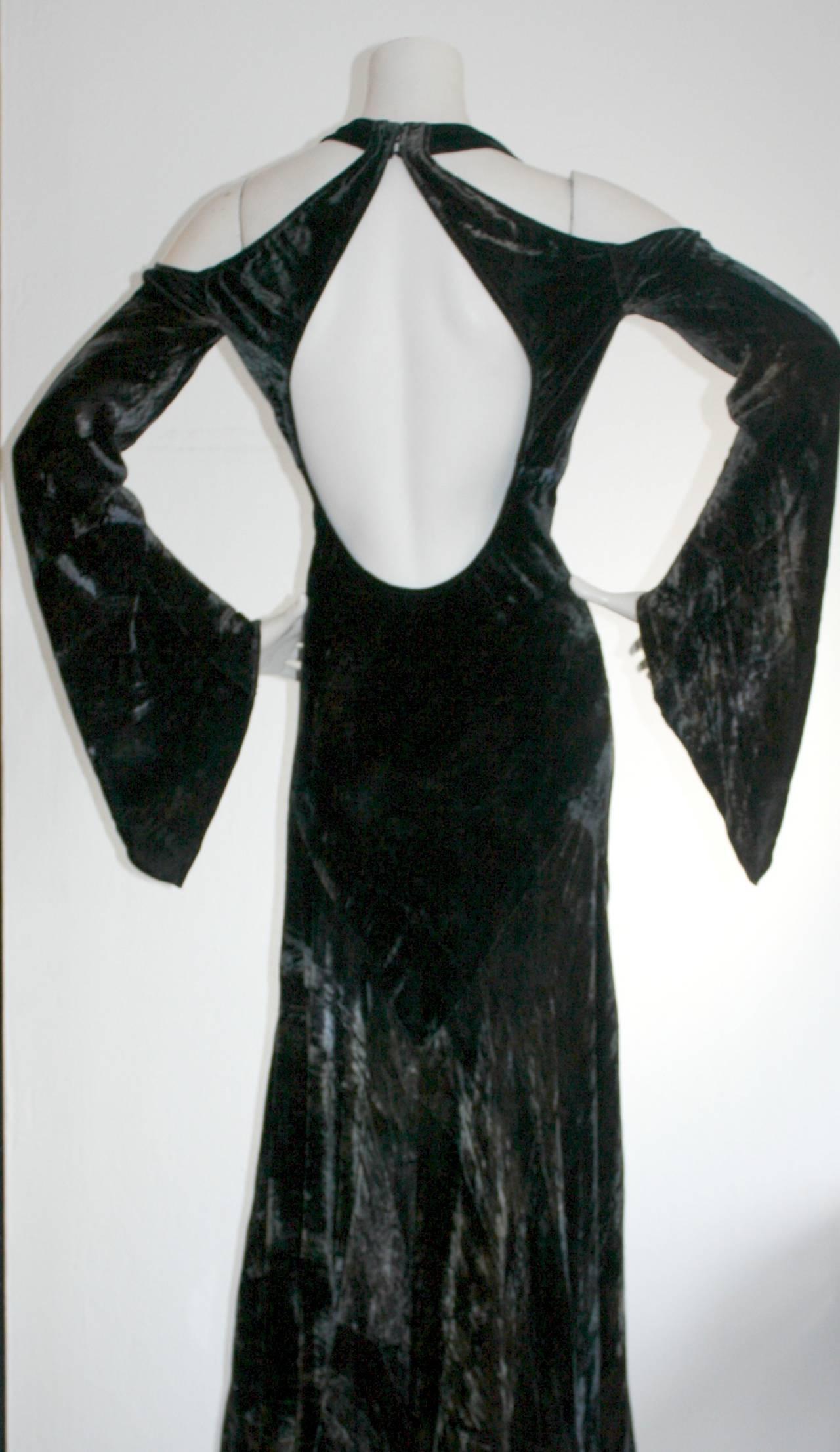 Vintage Donna Karan Ombré Crushed Velvet Blue & Green Open Back Runway Gown For Sale 3