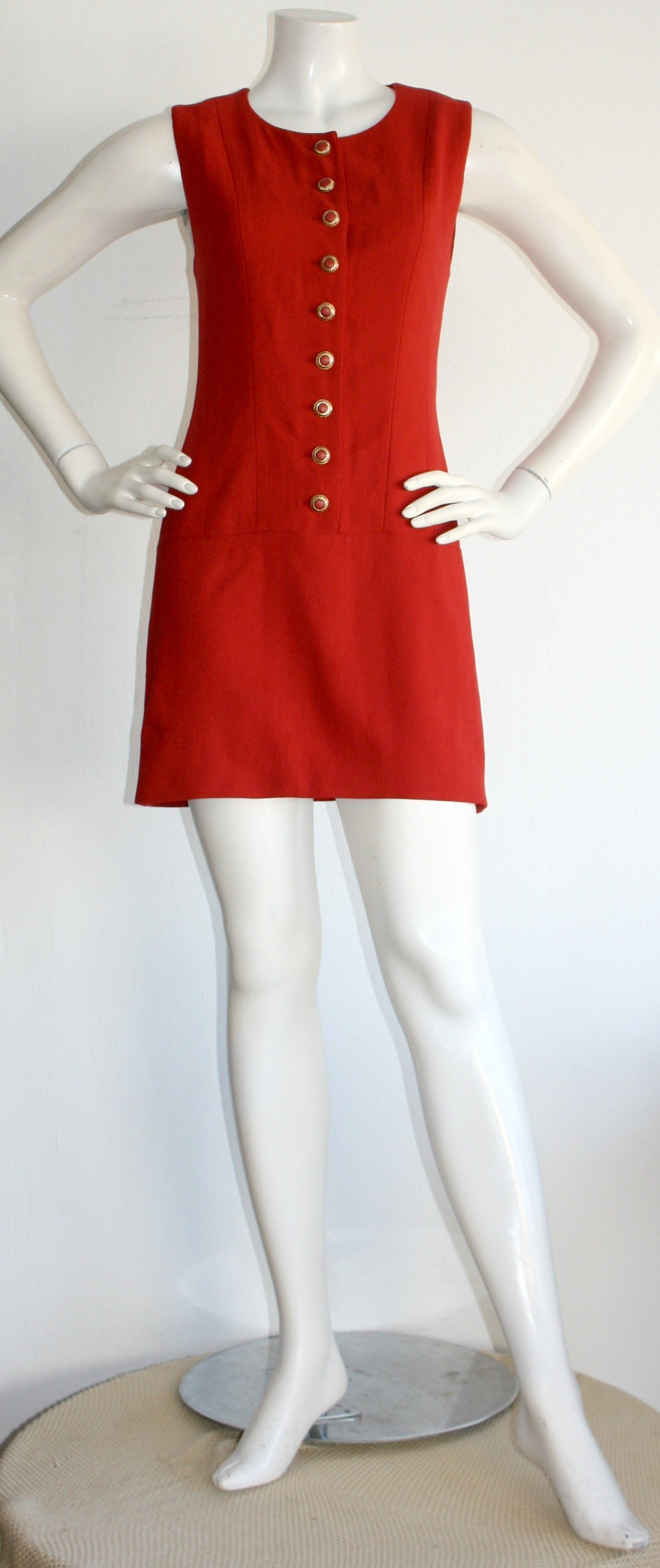 Vintage Karl Lagerfeld 1990s Does 1960s Red Scooter Dress 2