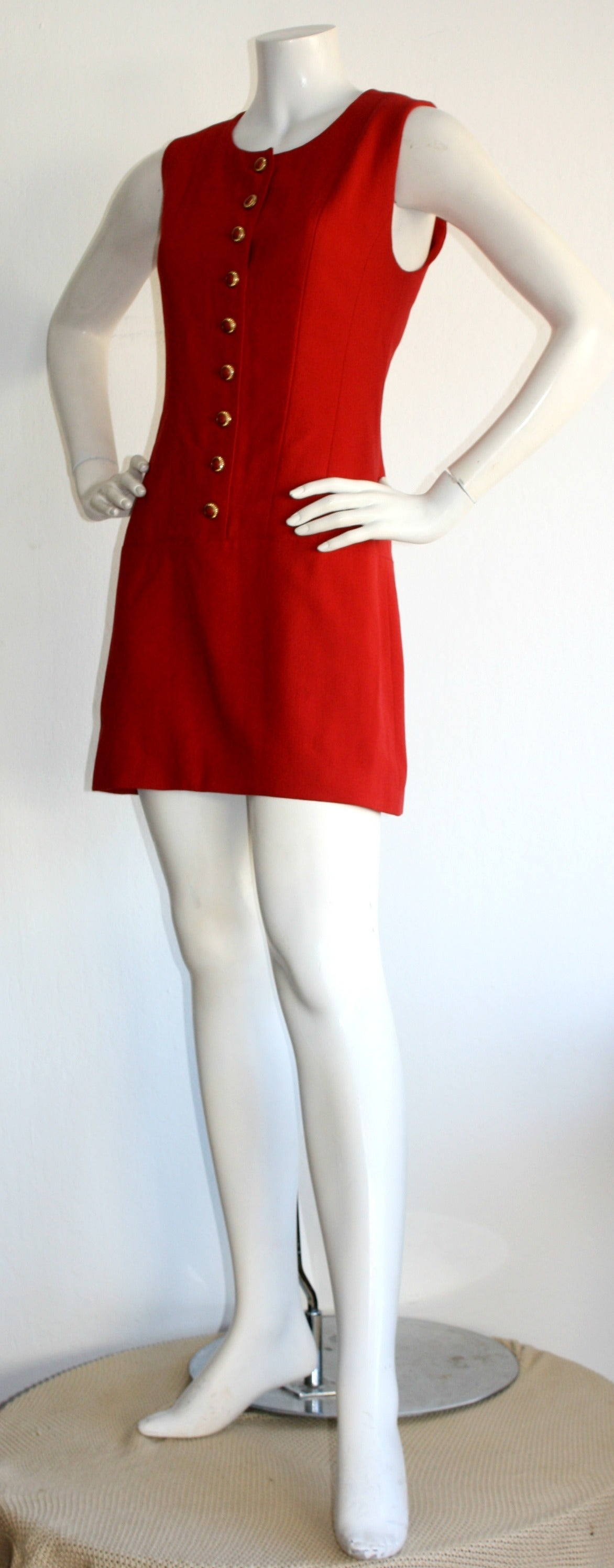 Vintage Karl Lagerfeld 1990s Does 1960s Red Scooter Dress 6