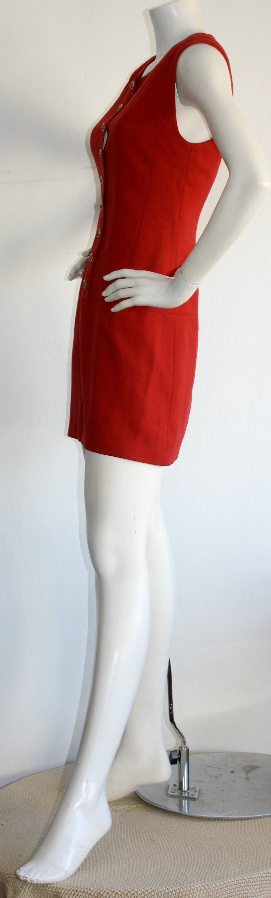 Vintage Karl Lagerfeld 1990s Does 1960s Red Scooter Dress 5