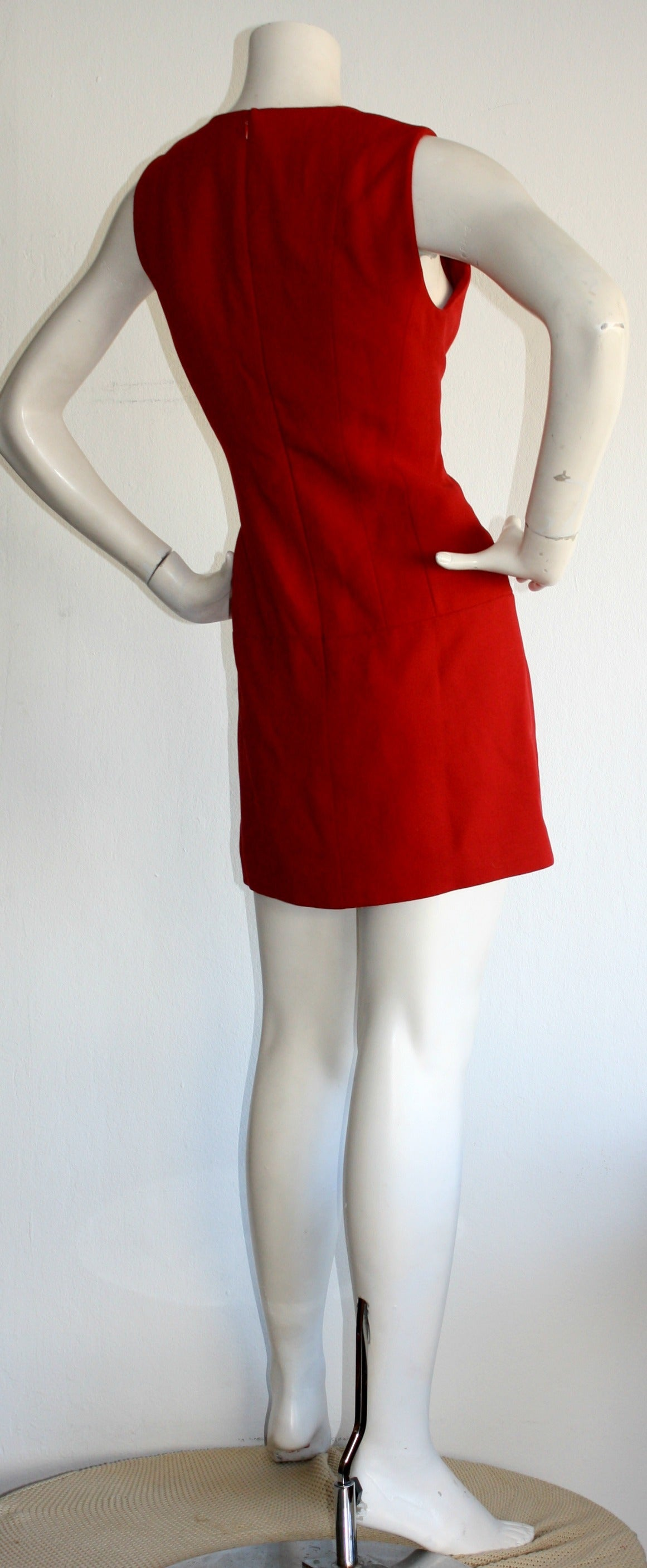 Vintage Karl Lagerfeld 1990s Does 1960s Red Scooter Dress 4