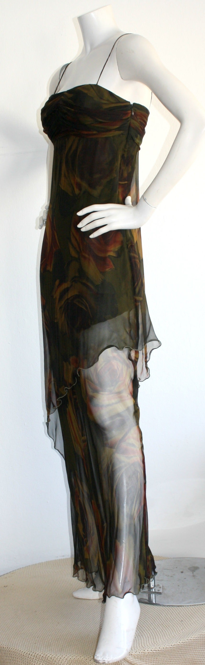 Luca Luca $2k Beautiful Rose Print Silk Chiffon Asymmetrical Gown In New Condition For Sale In Chicago, IL