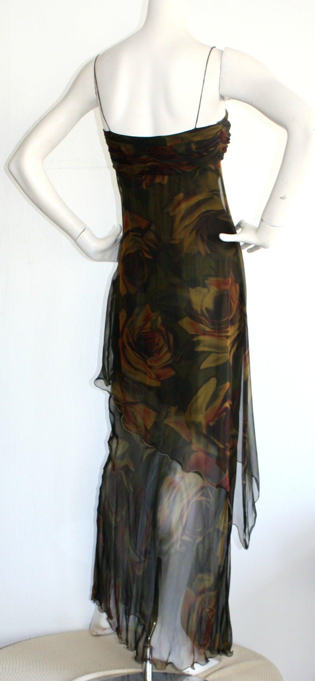 Women's Luca Luca $2k Beautiful Rose Print Silk Chiffon Asymmetrical Gown For Sale