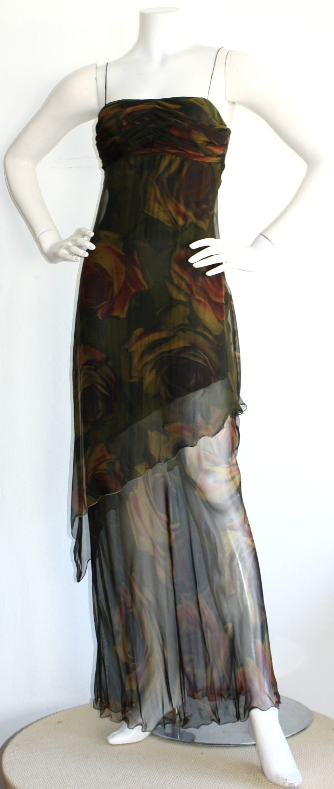 Black Luca Luca $2k Beautiful Rose Print Silk Chiffon Asymmetrical Gown For Sale