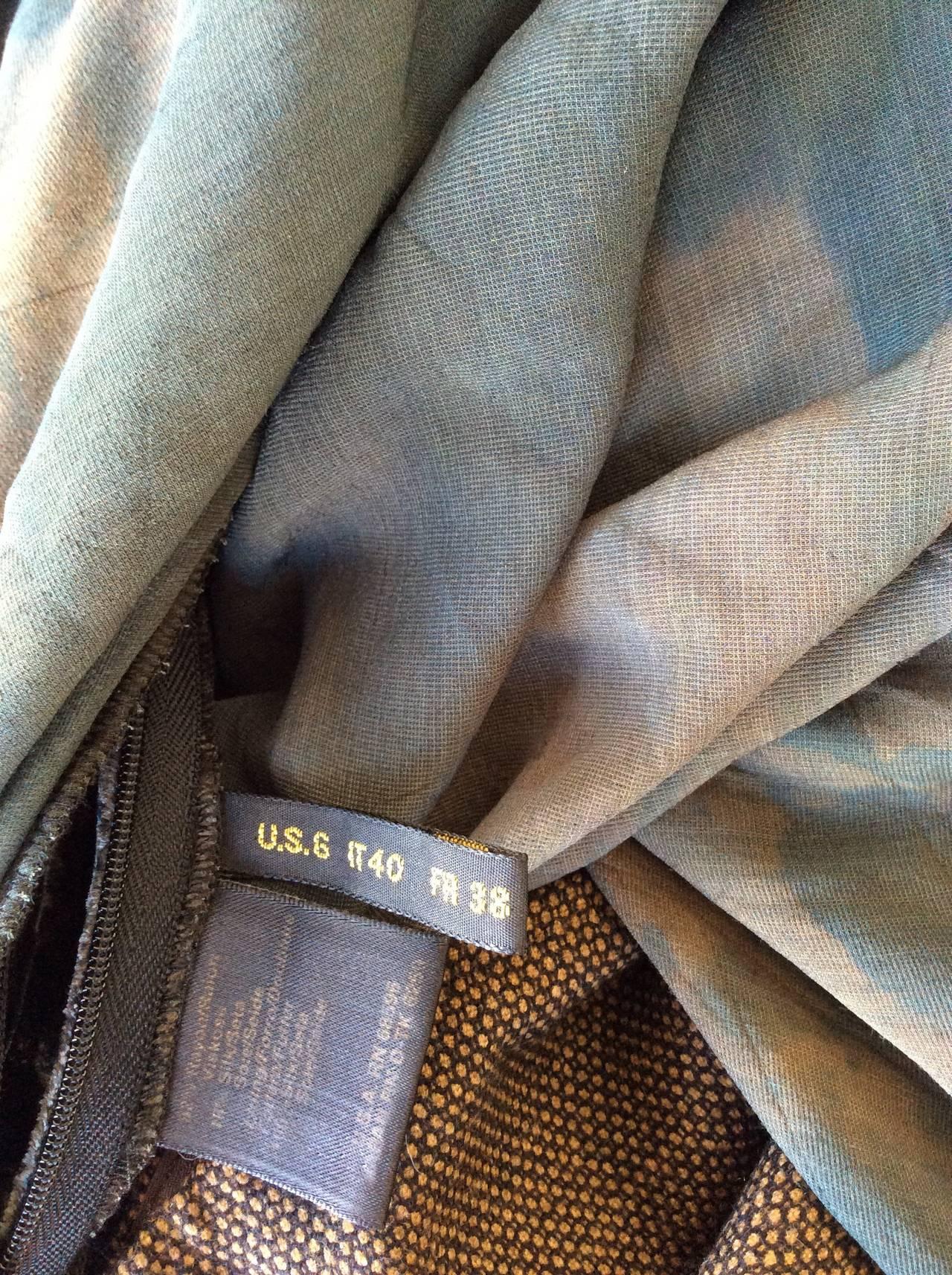 Vintage Donna Karan Ombré Crushed Velvet Blue & Green Open Back Runway Gown 10