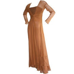 Exquisite Vintage Alberta Ferretti Grecian Goddess Chiffon Gown And Jacket