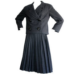 Iconic 1960s Vintage Christian Dior Skirt Suit Pill Box Charcoal Grey