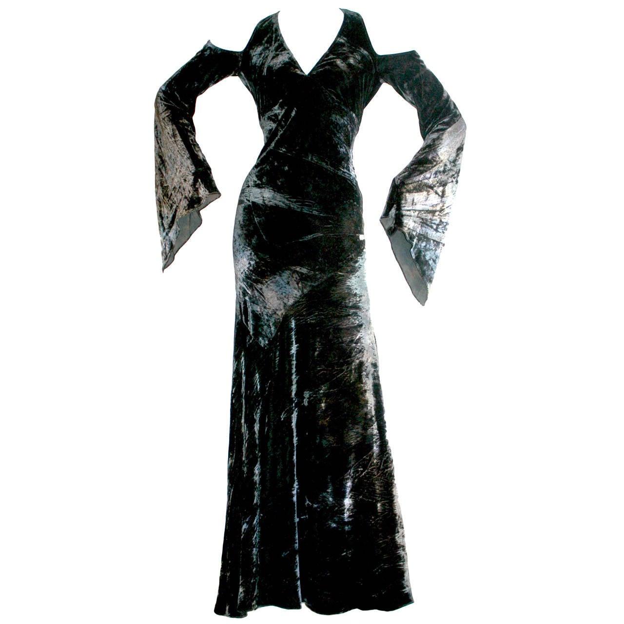 Vintage Donna Karan Ombré Crushed Velvet Blue & Green Open Back Runway Gown For Sale