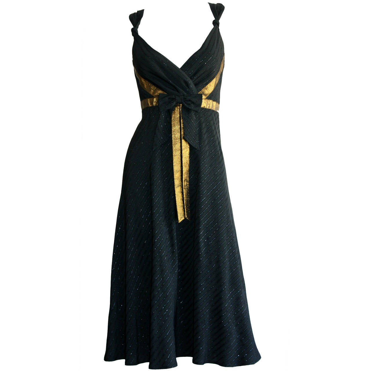 Beautiful Marc Jacobs Runway Holiday Babydoll Metallic Bow Cocktail Dress